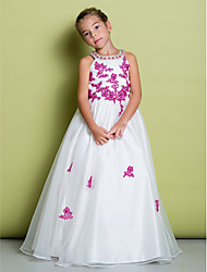 LAN TING BRIDE A-line Floor-length Flower Girl Dress - Organza Jewel with Beading Appliques