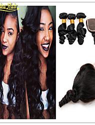 4 unidades / lote 8a virgem onda solta brasileira com cabelo humano cabelo virgem brasileiro encerramento barato com fecho