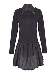 Women's Patchwork White / Black Dresses , Casual Shirt Collar Long Sleeve