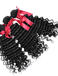 Peruvian Loose Curly Wave Virgin Hair Weave 7A Peruvian Virgin Hair 3 Bundles Black Loose Curly Wave Human Hair Weavings