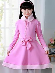 Vestido Chica de - Invierno - Mezcla de Algodón - Rosa