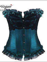 Burvogue Women's Elegant Satin Lace Trim Bustier Tops Overbust Corset Tops Plus Size