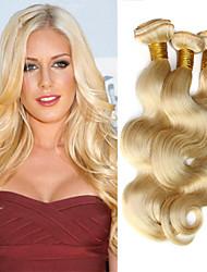 "3 Pcs Lot 12""-30"" Platinum Bleach Blonde 613 Virgin Hair Peruvian Body Wave Remy Human Hair Weave Bundles Machine Wefts"