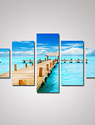 5 Panels Sunny Blus Seascape with A Wooden Bridge Picture Print on Canvas Unframed