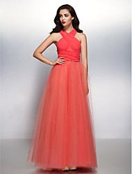 LAN TING BRIDE Bridesmaid Dress Floor-length Chiffon / Tulle Convertible Dress - A-line V-neck with
