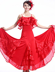 Ballroom Dance Dresses&Skirts Women's Performance / Training Crepe / Milk Fiber Draped / Ruffles 3 Colors