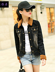 Women's Solid / Patchwork Black Cotton / Denim / Polyester Jacket , Vintage / Casual / Party