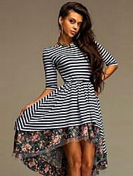 Women's Striped / Patchwork Black Dress (cotton)