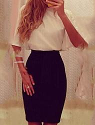 Women's Patchwork White Dress , Sexy Deep V ½ Length Sleeve