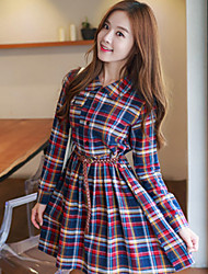 Women's Casual/Daily Vintage / Cute A Line / Loose Dress,Striped / Geometric Shirt Collar Above Knee Long Sleeve Multi-color Fall