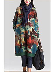 M.Dama Women's Print Brown / Green Dresses , Plus size/Vintage / Sexy / Party / Work Round Long Sleeve