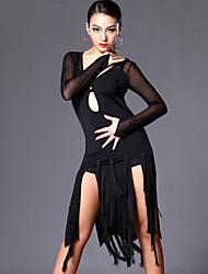 Latin Dance Dresses Women's Performance / Training Tulle / Milk Fiber Tassel(s) 2 Pieces Black Latin Dance / Performance / SambaSpring,