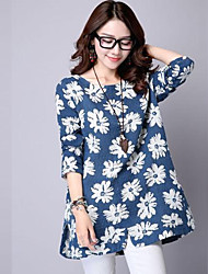 Women's Print Blue / Red Blouse , Round Neck Long Sleeve