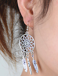Women's Vintage Hollow Flowers Metal Feathers Tassel Earrings