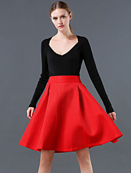 Women's Solid Red / Black / Green Skirts , Casual / Work Knee-length