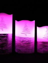 velas dotty ™ bateria natal levou velas - 3 pack de 12 cores em mudança piscando velas sem chama com remoto