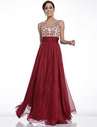 Women's Patchwork Red Dresses , Vintage / Party V-Neck Sleeveless