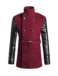 Men's Pu Patchwork Regular Coat