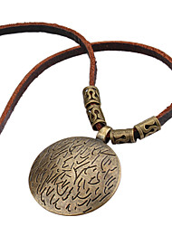Mysterious Character Cowhide Rope  Necklace