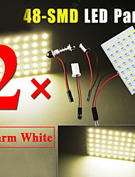 2 PCS Warm White HID T10 48-LED Ba9s Panel LED Dome Map Interior Light Bulb Lamp