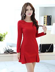Fashion Women's Spring Wild Slim Package Hip Round Neck Long Sleeve  Party / Work Inner Dress