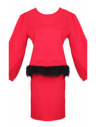 Women's Solid Color Red / Black Suits , Casual Round Long Sleeve