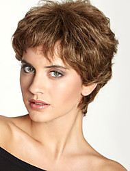 "Fashion Fluffy Short Wavy Human Hair  Monofilament Top(1"")Natural Capless Wig For Women"