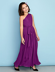 Ankle-length Chiffon Junior Bridesmaid Dress - Grape A-line One Shoulder