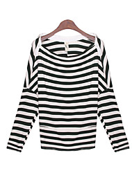 Women's Striped Green Tops & Blouses , Casual Wide Neck Long Sleeve
