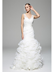 Trumpet / Mermaid Wedding Dress Court Train V-neck Organza with Appliques / Beading / Button / Criss-Cross