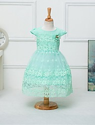 A-line Knee-length Flower Girl Dress - Chiffon / Tulle Short Sleeve Jewel with