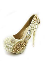 Women's Shoes Stiletto Heel Heels Crystal Pearl Pumps/Heels Wedding/Party & Evening/Dress White