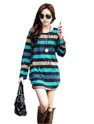 Women Long T-Shirt Stripe Star Print O-Neck Long Sleeve Casual Tunic Pullover Top Mini Dress
