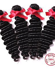 Peruvian Deep Wave Virgin Human Hair Budles Wefts 7A  Natural Color Peruvian Virgin Deep Hair Weavings