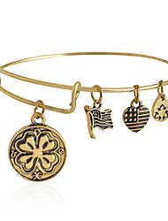 "Bangle Bar ""Four Leaf Clover"" Rafaelian Expandable Wire Bangle Bracelet (Internal Diameter :65mm)"