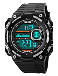 SKMEI Hommes Montre de Sport Montre Bracelet Numérique LCD Calendrier Chronographe Etanche penggera Montre de Sport Caoutchouc Bande Noir