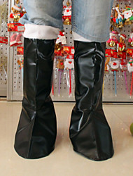"45CM/17.7"" 1Pair Father Christmas Black Leather Boots Santa Claus Cosplay Shoes Decoration"