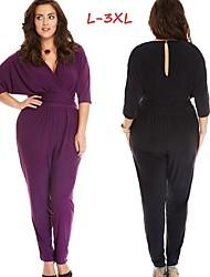 Women's Solid Color Black / Purple Plus size Jumpsuit , Sexy / Casual V-Neck ¾ Sleeve