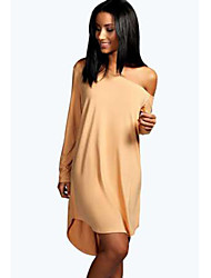 Women's Casual Solid Shift Dress , One Shoulder Above Knee Cotton