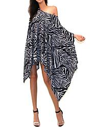 Women's Animal / Print Black Dress , Party Asymmetrical ½ Length Sleeve