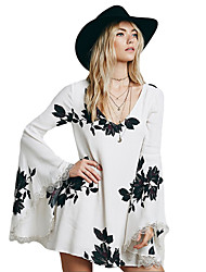 Women Dress Flower Printed V Neck Flare Sleeve Lace Cuffs Personality Glamorous Dress