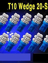 10 x T10 W5W 2825 192 194 168 501 20smd bleu ultra conduit côté coin ampoule 12v