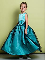 A-line Ankle-length Flower Girl Dress - Satin / Tulle Sleeveless
