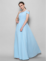 Lanting Bride® Floor-length Georgette Bridesmaid Dress - A-line One Shoulder with Side Draping