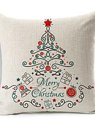 Presents Merry Christmas Cotton/Linen Decorative Pillow Cover
