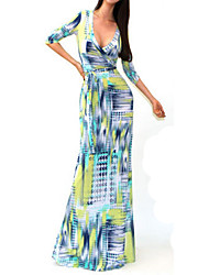 Sexy Package Hip Maxi Dress Fashion V-neck Long Sleeve Printed Long Dress  Women Party Dresses vestido