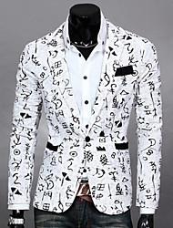 Men's Print / Solid Casual Blazer,Cotton Blend Long Sleeve Green / White / Beige