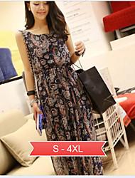 Women's Plus Size Flower Print Beach Chiffon Maxi Dress