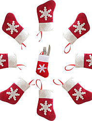 5PCS Christmas Decoration Mini Socks Knife and Fork Cutlery Bags