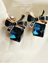 JY Jewelry blue cube crystal bow earring